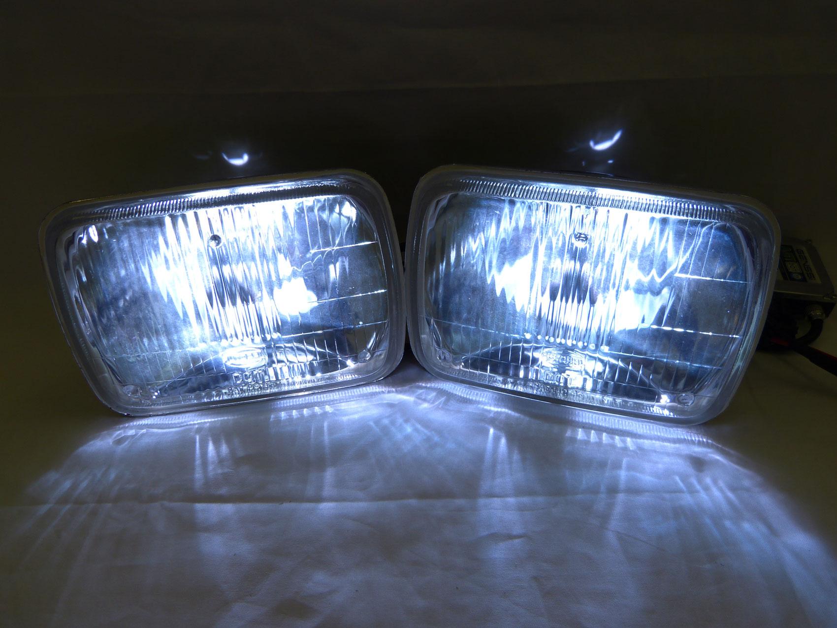 7x6 h6054 clear square dot headlight head light h4 8000k. Black Bedroom Furniture Sets. Home Design Ideas